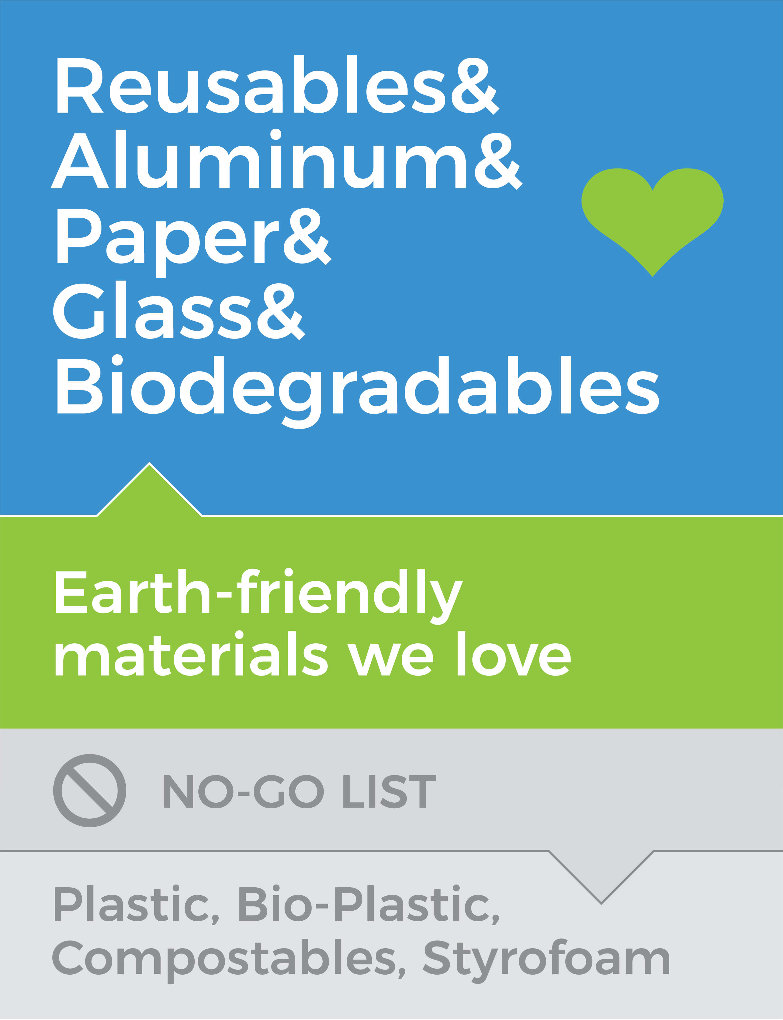 Earth-friendly materials we love: Reusables & Aluminum & Glass & Biodegradables. No-go list: Bio-plastics, Compostables and Styrofoam
